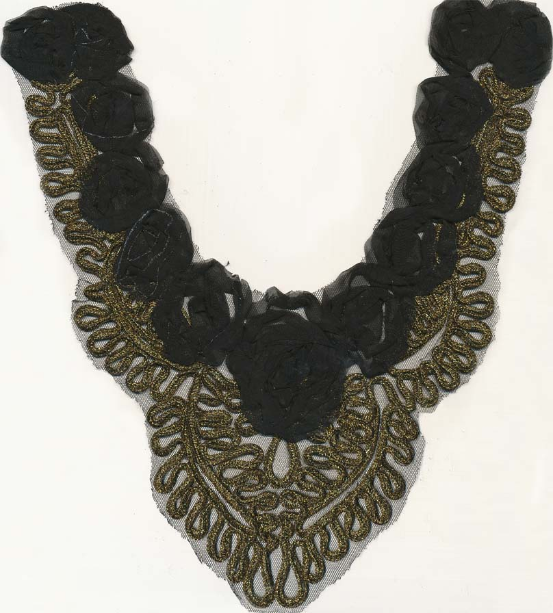 "14"" X 8"" Sheer Metallic Embroidered Floral Collar-Gold/Black"