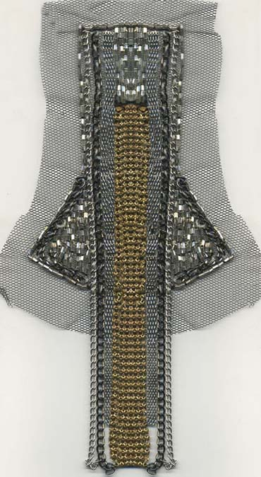 "6"" Sew-on Mesh Chain and Bead Front Piece-Gold/Silver Combo"