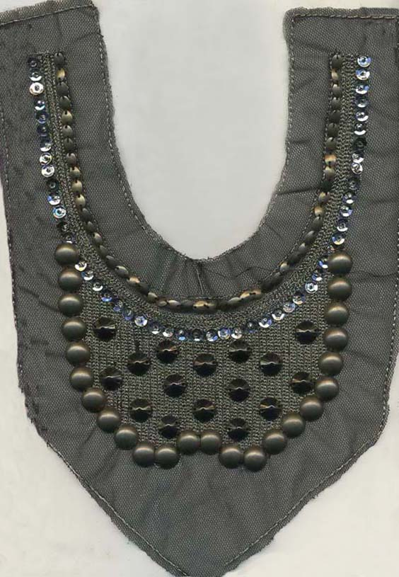 Studs & Sequined Embellished Applique-Antique Brass/Black
