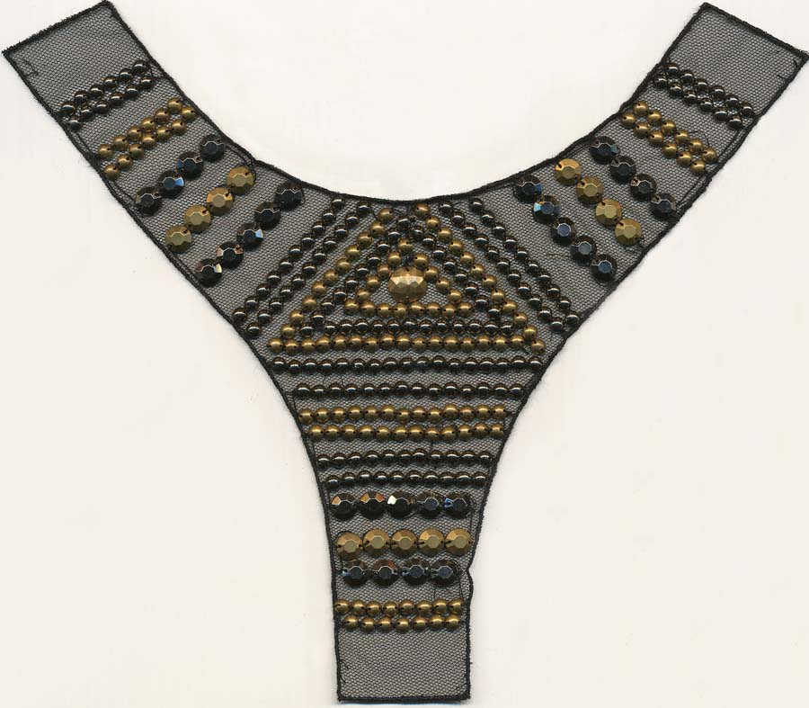 """Y"" Black Mesh Yoke-Antique Gold And Black Multi Studs"