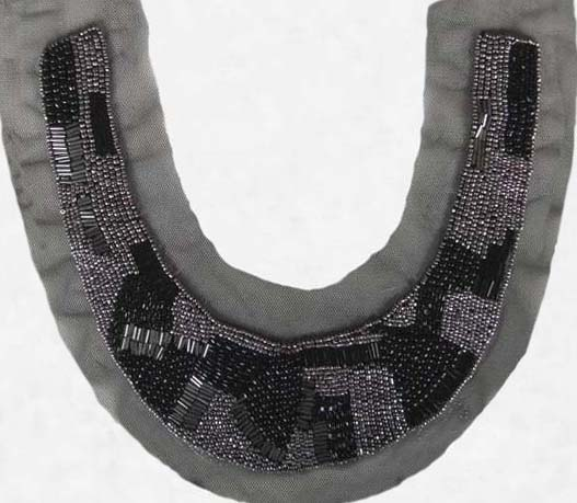 "10"" X 3"" Metallic Beads And Bars Collar-Black/Nickel On Black Mesh"