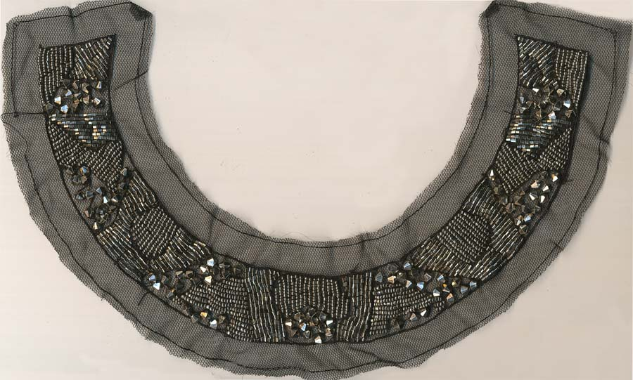 "15"" X 3"" Metallic Beads And Bars Collar-Nickel/Gunmetal On Black Mesh"