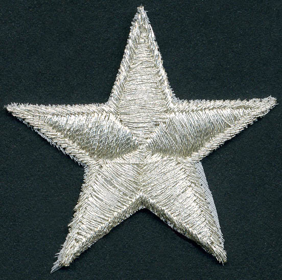 "1+3/4"" Metallic Star Patch With Heat Seal-Silver"