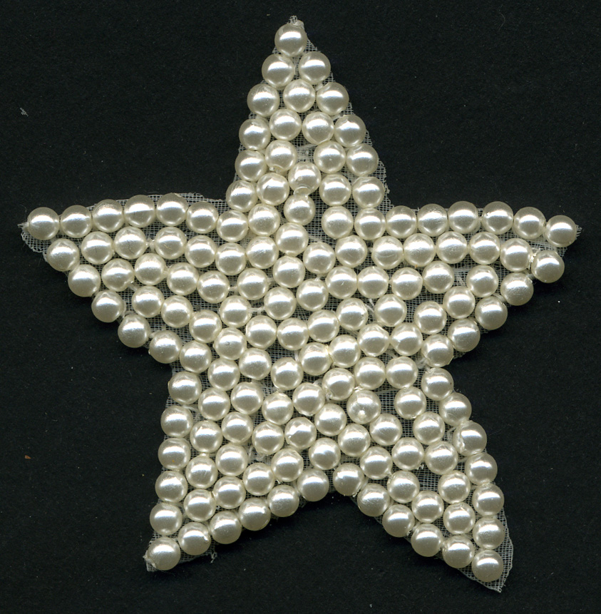 "2+1/2"" Sew On Beaded Pearl Star Applique-Pearl"