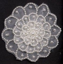 "2.75"" Sew-on 3-Layer Beaded Pearl Applique"