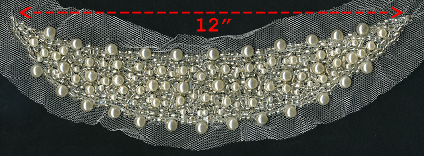 "12"" Sequined Pearl And Crystal Beaded Collar-White"