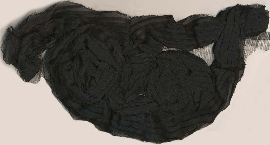 "11"" x 5"" Chiffon Flower Applique-Black"