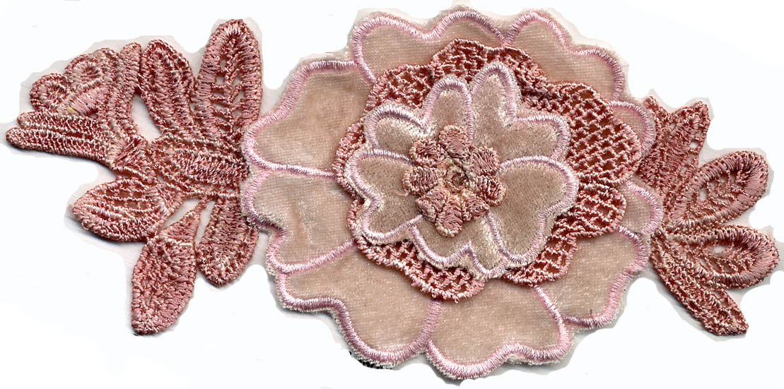 "7"" Embroidered Velvet Applique-Mauve"