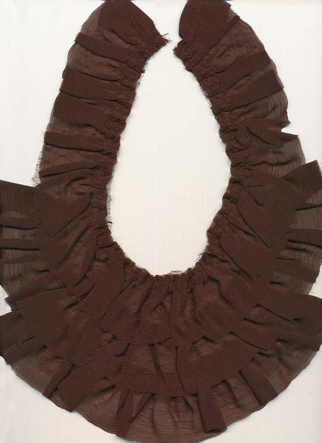 "10.5"" x 8"" 3 Row Sheer Ruffle Yoke-Brown"