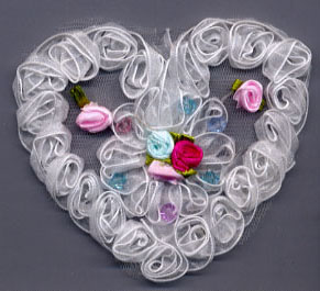 Embroidered Organza Heart with Flowers-White