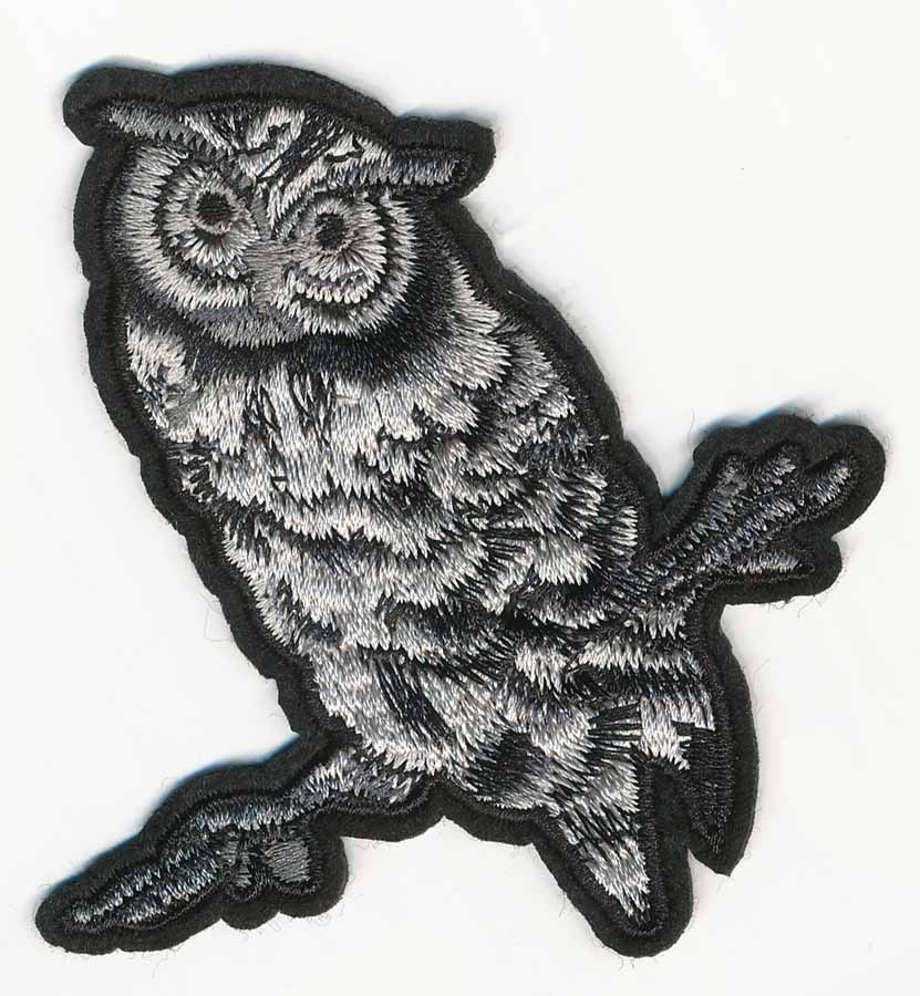 "3 1/4"" x 3 1/2"" Owl on Branch Patch-Dark Grey/Light Grey/Black"
