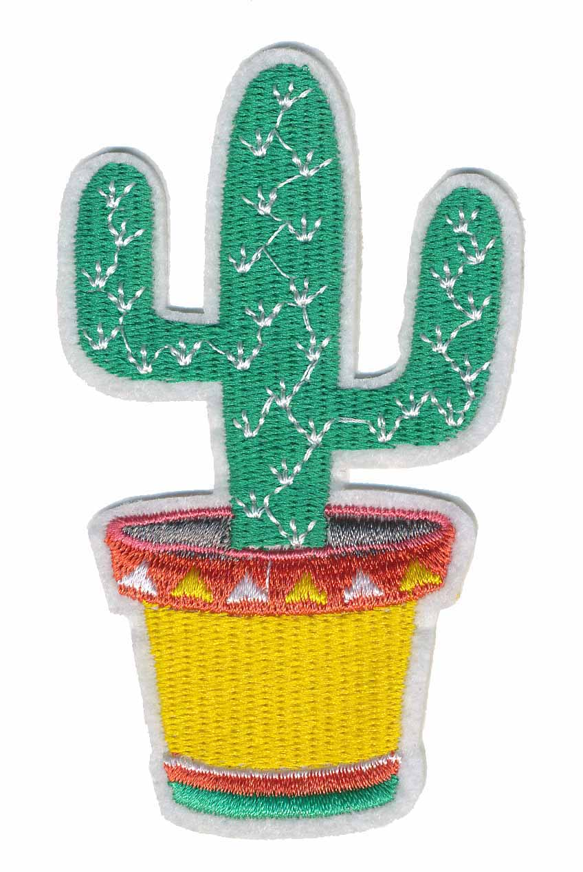 "2+1/4"" x 4"" Cactus Patch With Heat Seal-Mint Green/Yellow/Orange/White"
