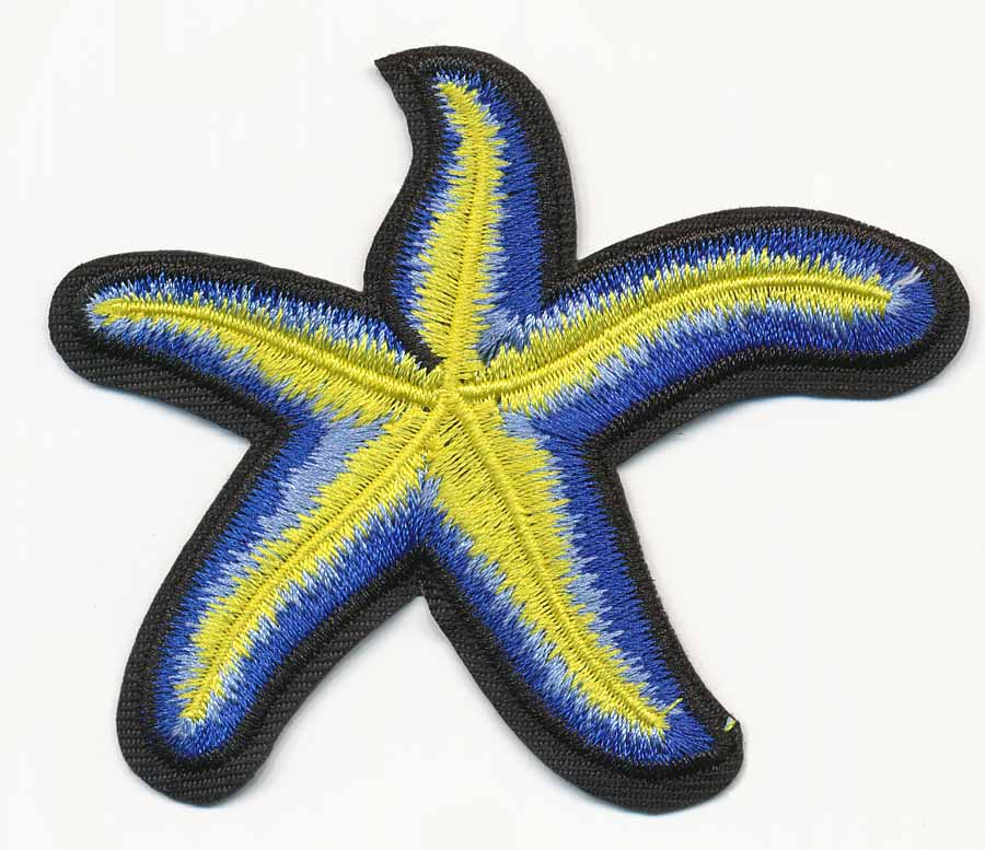 "3"" x 3 3/4"" Ocean Starfish With Heat Seal-Royal/Cerulean/Yellow"