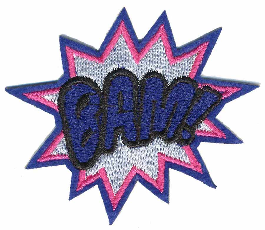 "2 1/2"" x 3"" Bam! Patch With Heat Seal-Blue/Grey/Hot Pink/Black"