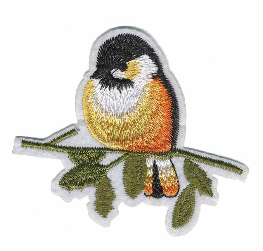 "2 3/4"" 3 1/4"" Bird Sitting on Branch With Heat Seal-Yellow/Orange/White /Black/Olive"