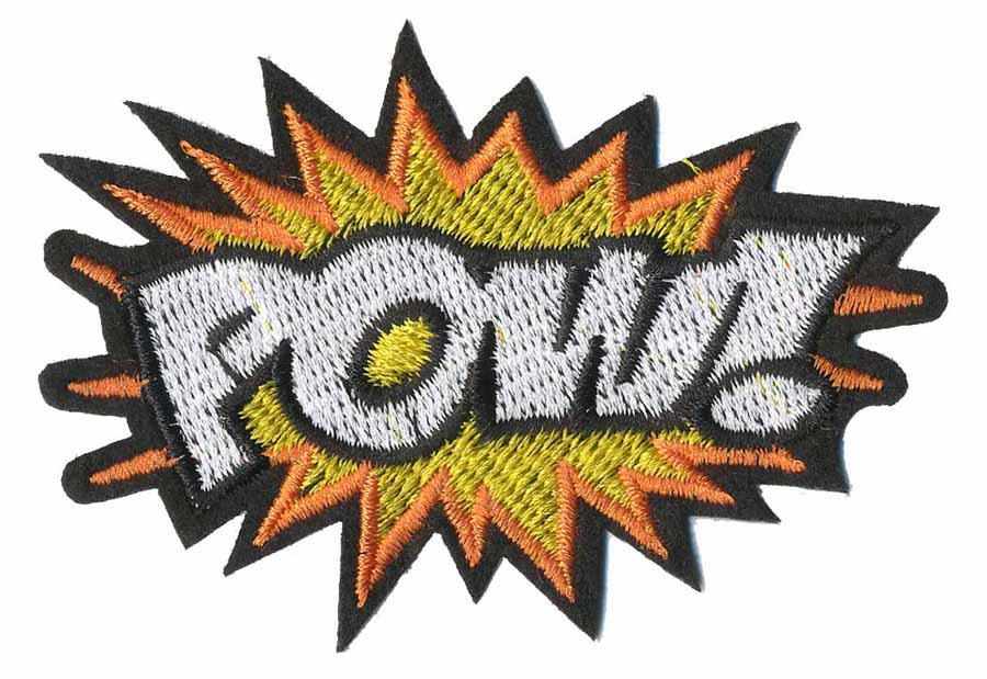 "2 1/2"" x 3 1/2"" Pow! Patch With Heat Seal-White/Yellow/Orange/Black"
