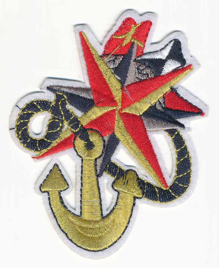 "3+1/8"" x 4 1/8"" Nautical Anchor with Star and Flags Patch and Heat Seal Backing-Gold/Navy/Red/White"