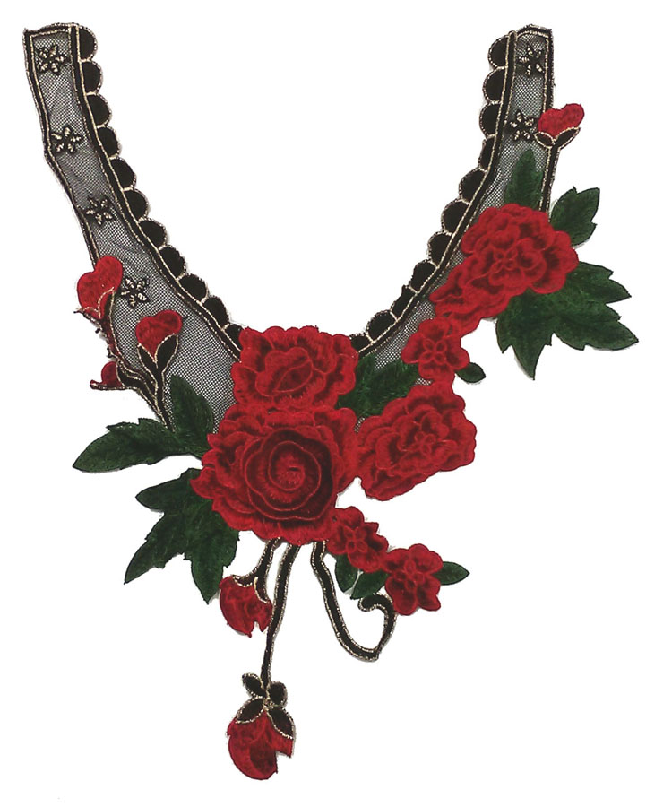 "12"" X 15"" 3D Rose Collar Applique-Red/Green/Black/Gold"