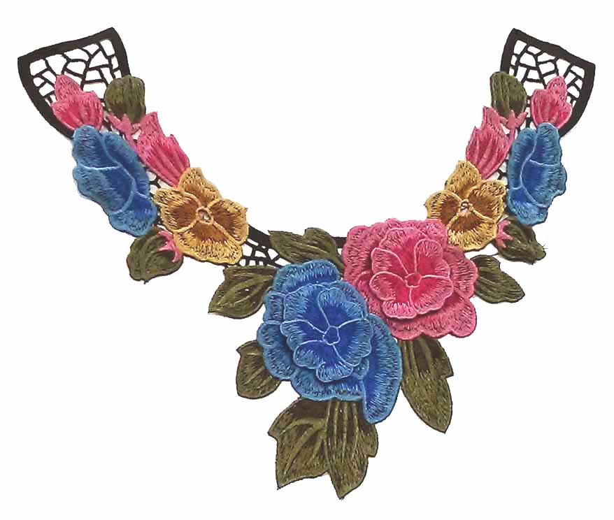 "11"" X 11 1/2"" 3D Multi Color Flower Collar Applique-Ceruline/Pink/Tan/Olive/Black"
