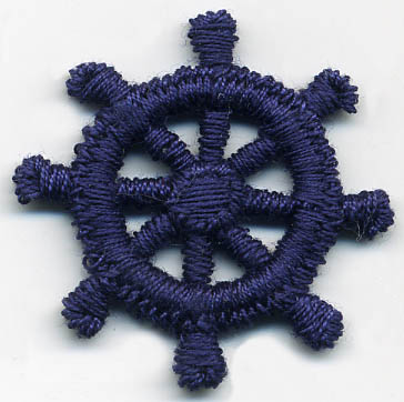Rayon Nautical Ship Wheel Patch Applique-Navy