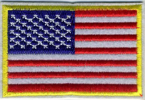 "2"" x 3"" American Flag with Gold Trim"