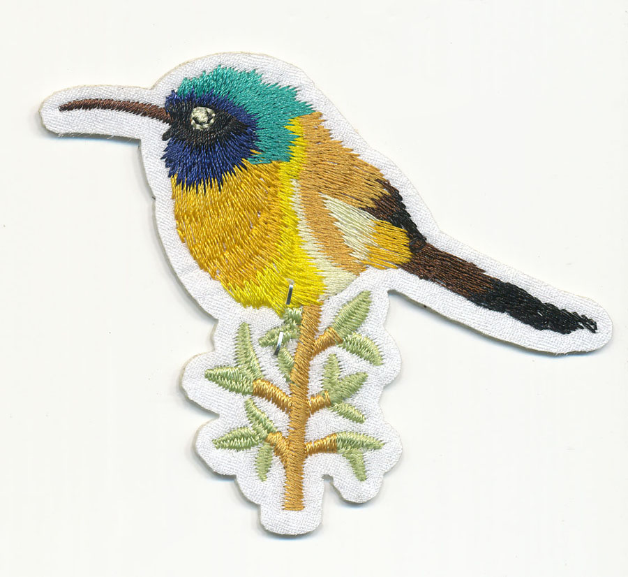 "3 1/2"" x 2 7/8"" Bird On Branch with Heat Seal-White/Gold/Black/Blue"