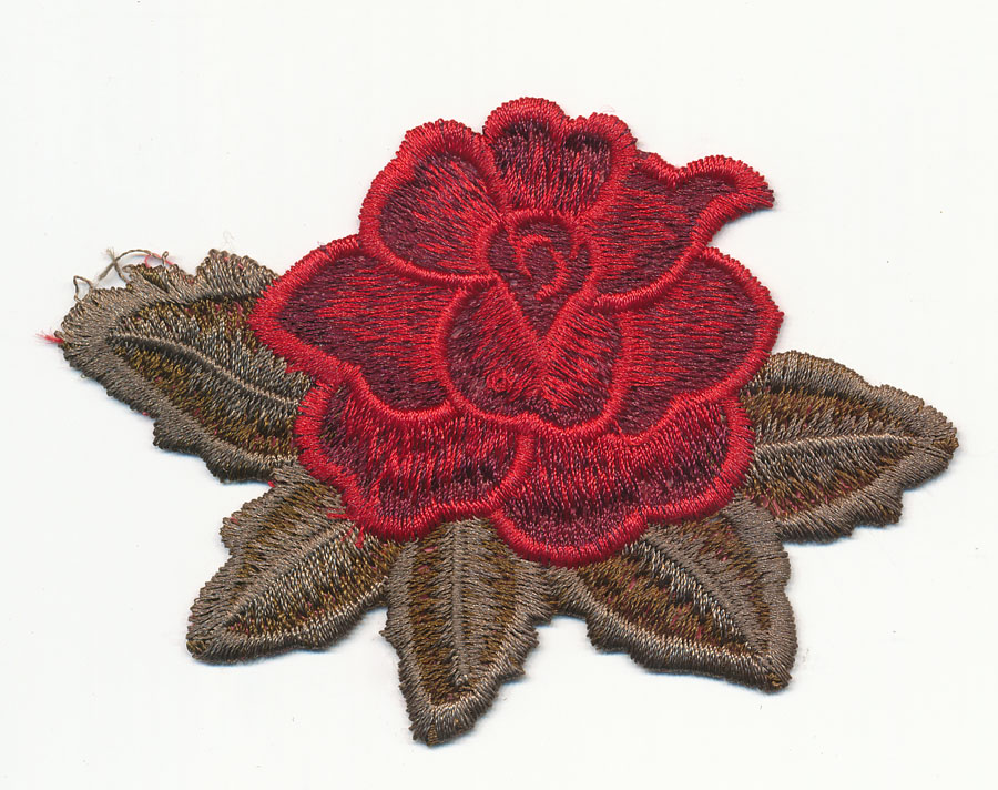 "4"" x 3"" Rose With Leafs-Red/Olive Khaki"