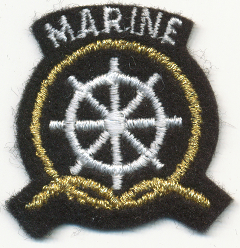 "1+3/4"" X 1+1/2"" Marine Crest Patch-White/Gold on Black Background (Sew-on)"