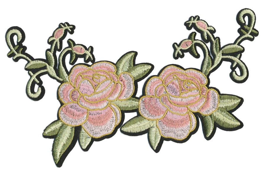"4.75"" x 8"" Roses With Rosebuds And Heat Seal Backing-Pink/White/Gold/Green"