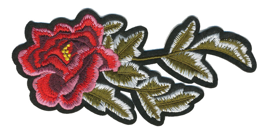 "3"" x 5.75"" Peony Flower With Leaves And Heat Seal Backing-Red/Maroon/Pink/Olive/White"