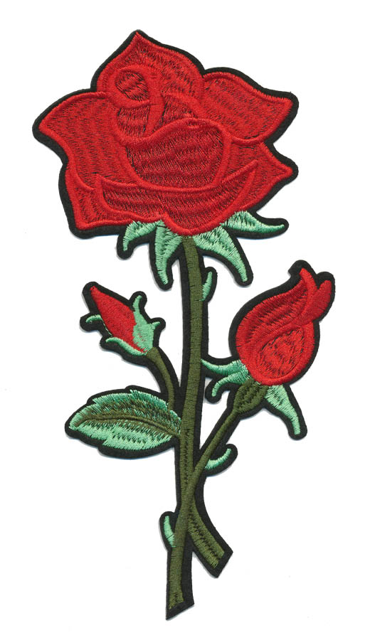 "4.25"" x 8.5"" Large Rose With Two Rose Buds And Heat Seal Backing-Red/Green"