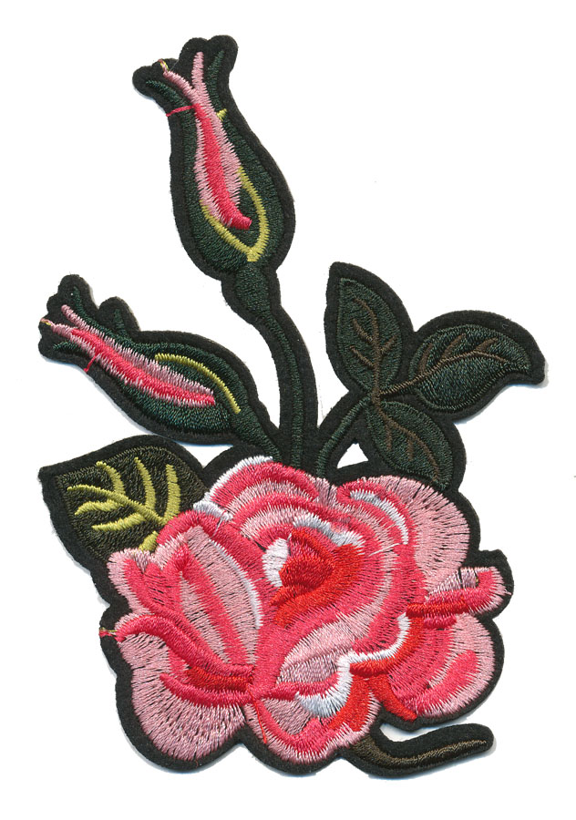 "3.5"" x 5"" Rose With Rosebuds And Heat Seal Backing-Pink/Light Pink/Hunter Green/Yellow"