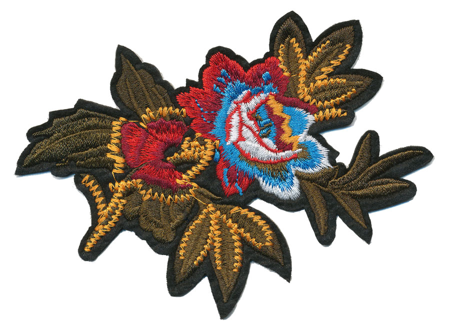 "3.75"" x 5.25"" Flower With Leaves And Heat Seal Backing-Red/Sky Blue/White/Maroon/Olive"