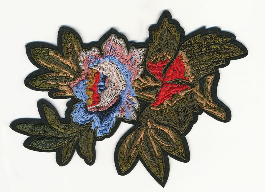 "4.25"" x 5.75"" Flower With Leaves And Heat Seal Backing-Powder Blue/Blush Pink/White/Red/Green"