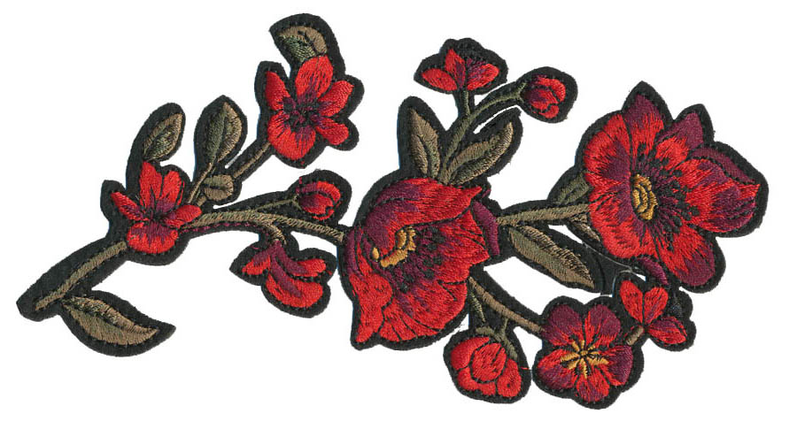 "3"" x 6.75"" Red Poppy Flowers With Heat Seal-Red/Olive"