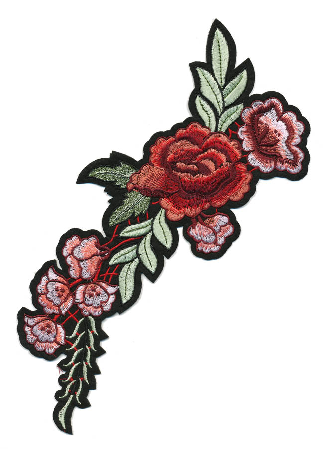 "4.5"" x 10.5"" Peony Vine With Leaves And Heat Seal Backing-Coral/Maroon/Light Pink/Red/Green"