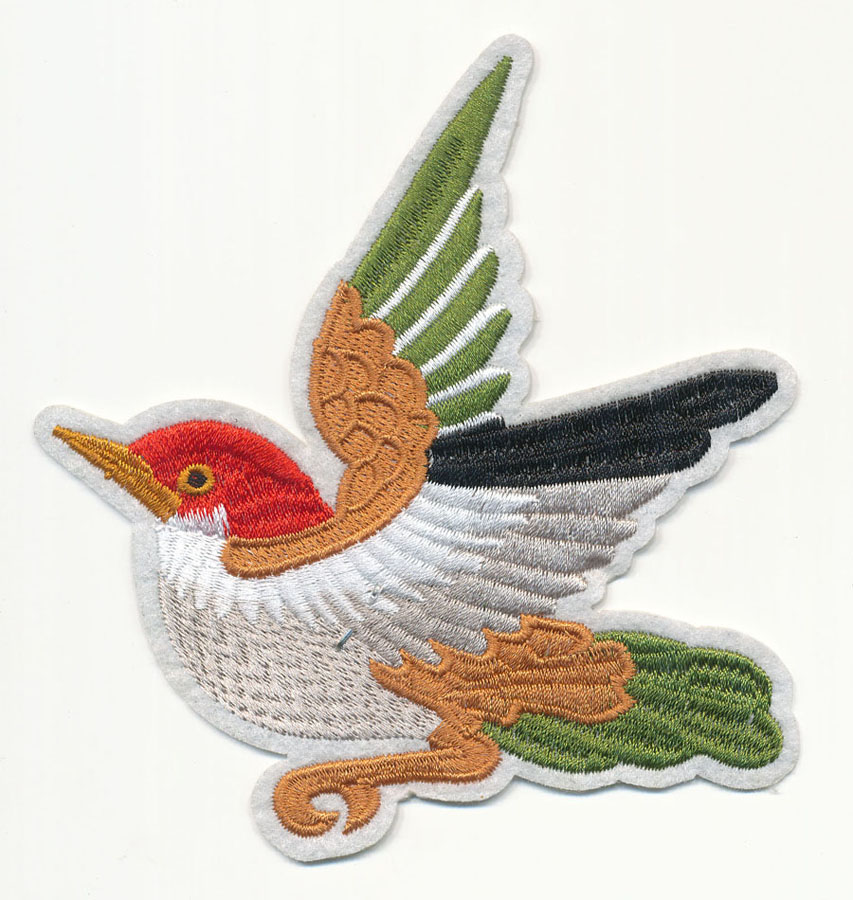 "5"" x 5"" Roaming Takahashi Bird with Heat Seal-White/Brown/Red/Olive"