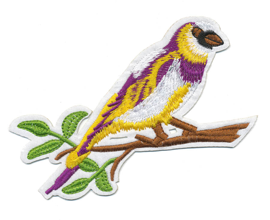 "3"" x 5.25"" Bird On Branch With Heat Seal-Purple/Yellow/White/Brown/Green"
