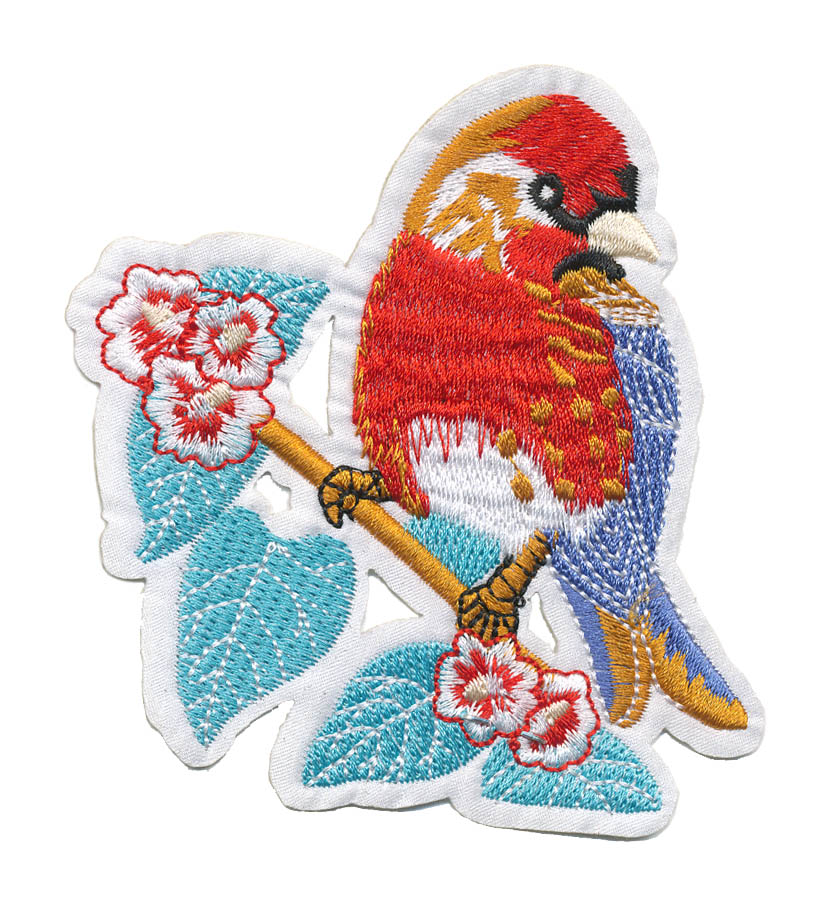 "3 5/8"" x 4"" Bird On Branch With Heat Seal-Red/Cerulean/Orange/Sky Blue/White/Black"