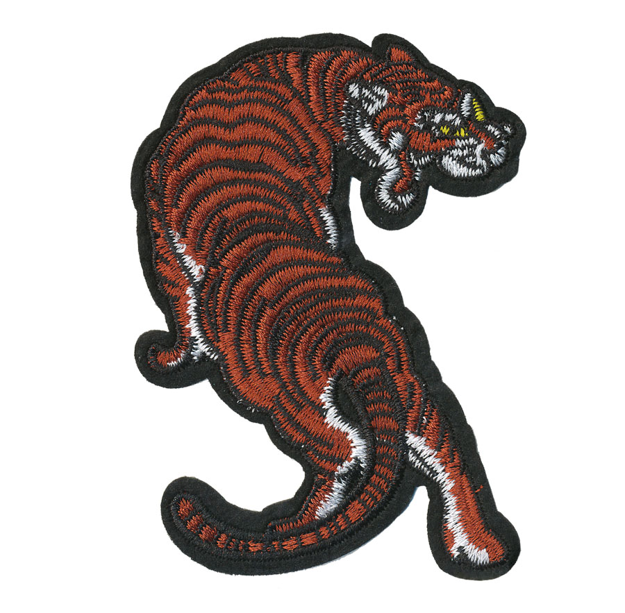 "3 1/8"" x 4 3/8"" Tiger Patch Applique With Heat Seal-Orange/Black/White/Yellow"