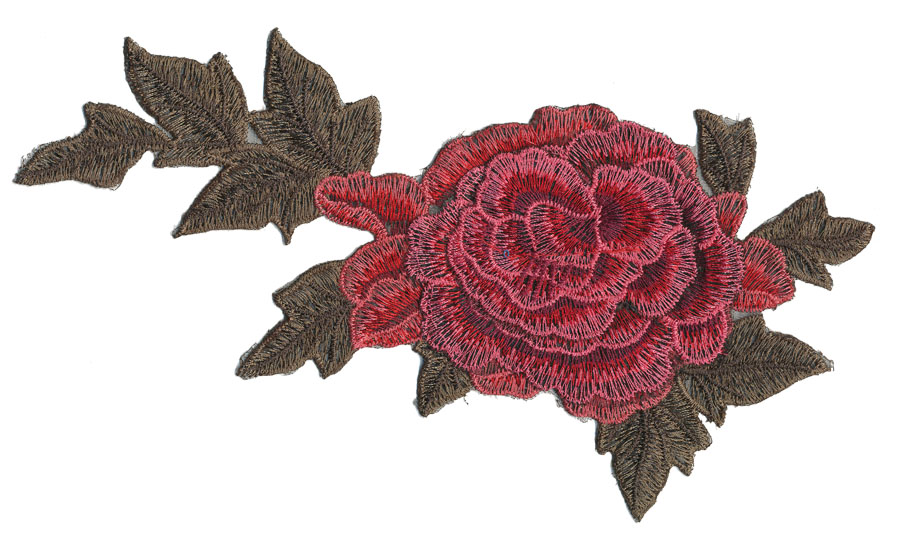 "4.5"" x 9.25"" 2D Large Rose With Leaves-Crimson/Red/Maroon/Olive"