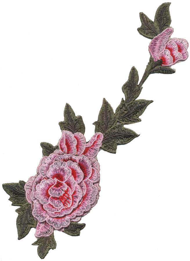 "4.5"" x 12.75"" 2D Large Rose With Rosebud-Pink/Red/Green"