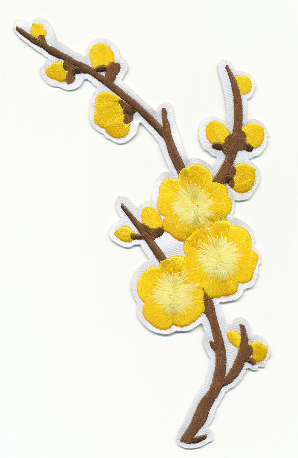 "4"" x 6.5"" Cherry Blossom Applique With Heat Seal-Yellow"