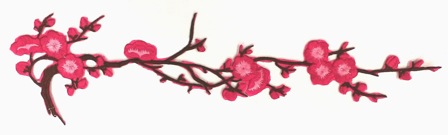 "4.25"" x 15.25"" Cherry Blossom Applique With Heat Seal-Hot Pink/Brown/Pink"