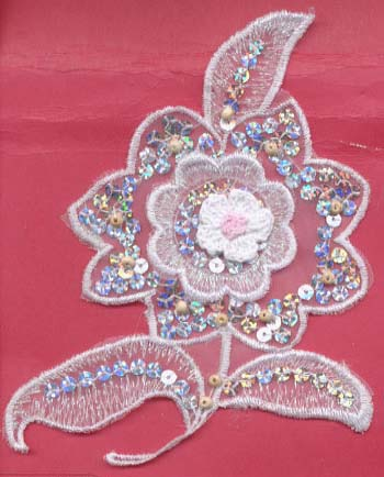 "6"" Sequin and Embrodered Crochet Flower"