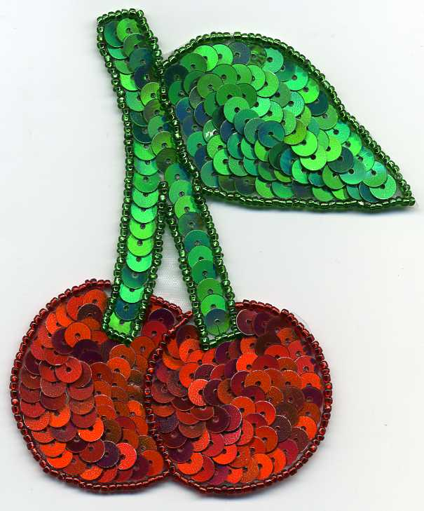 "4.5"" x 4.25"" Sequin Double Cherry Applique"