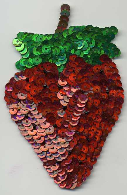 "4.75"" x 3"" Sequin Strawberry Applique"