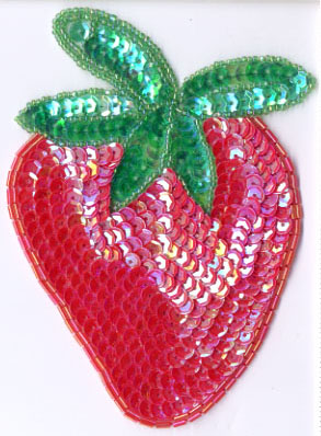 "5.5"" x 4"" Sequin Strawberry Applique"