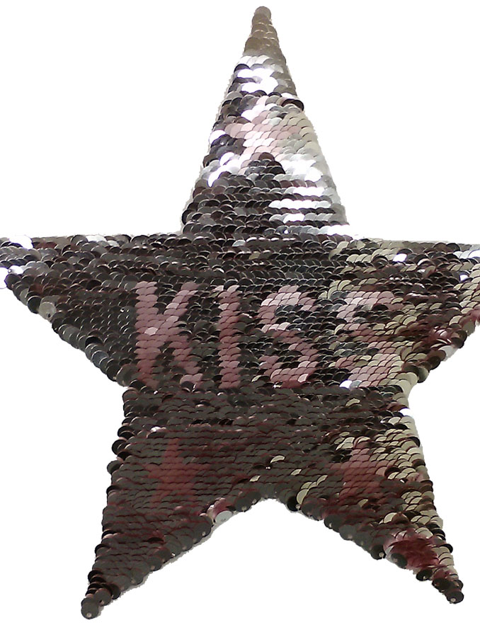 "7+3/4"" x 8+1/2"" Sequin Star ""Kiss"" Applique-Silver/Pink"