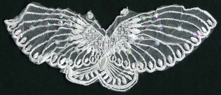 "9"" Sheer Clear Iris Sequined Butterfly Applique-White"
